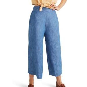 MADEWELL Huston Pull On Chambray Crop Pants